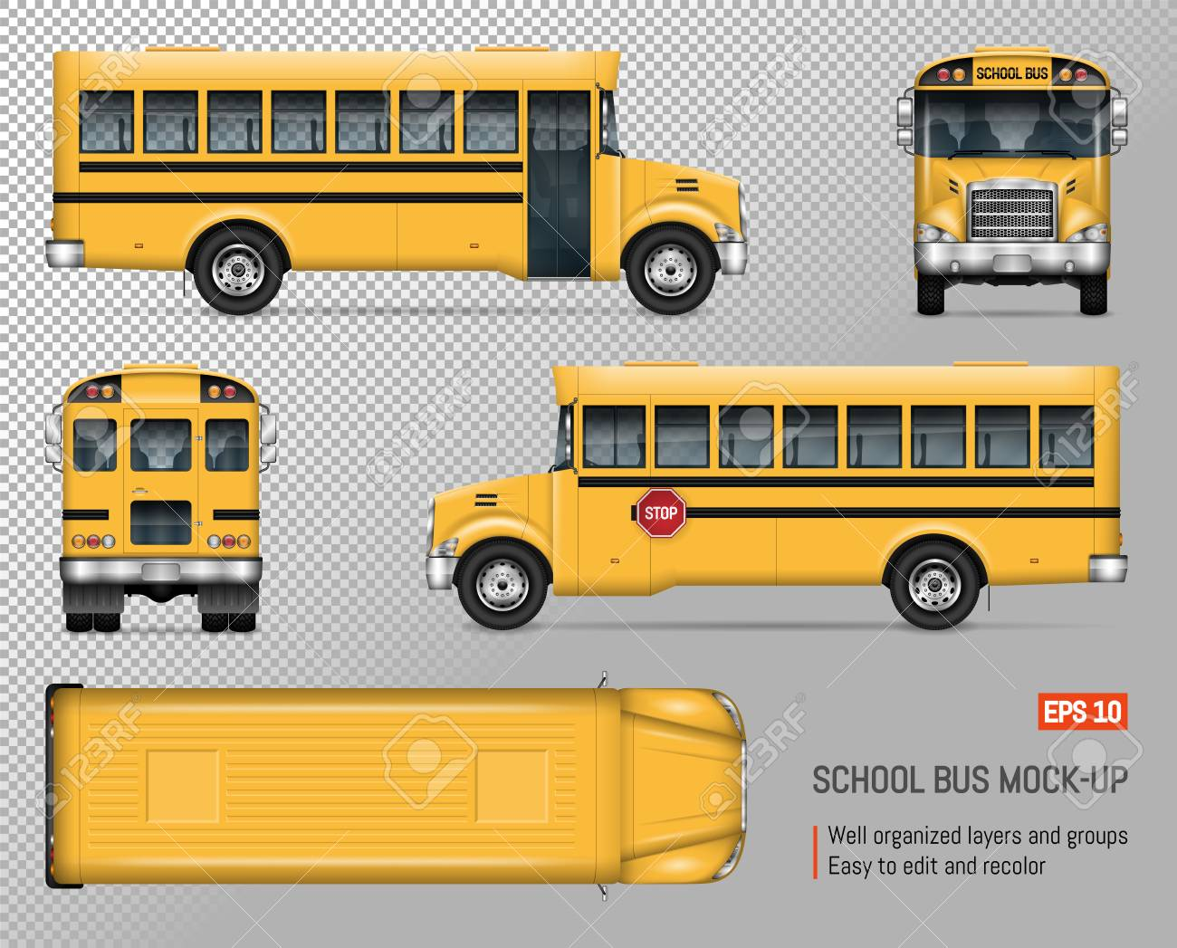 school bus vector mock up isolated template of yellow autobus