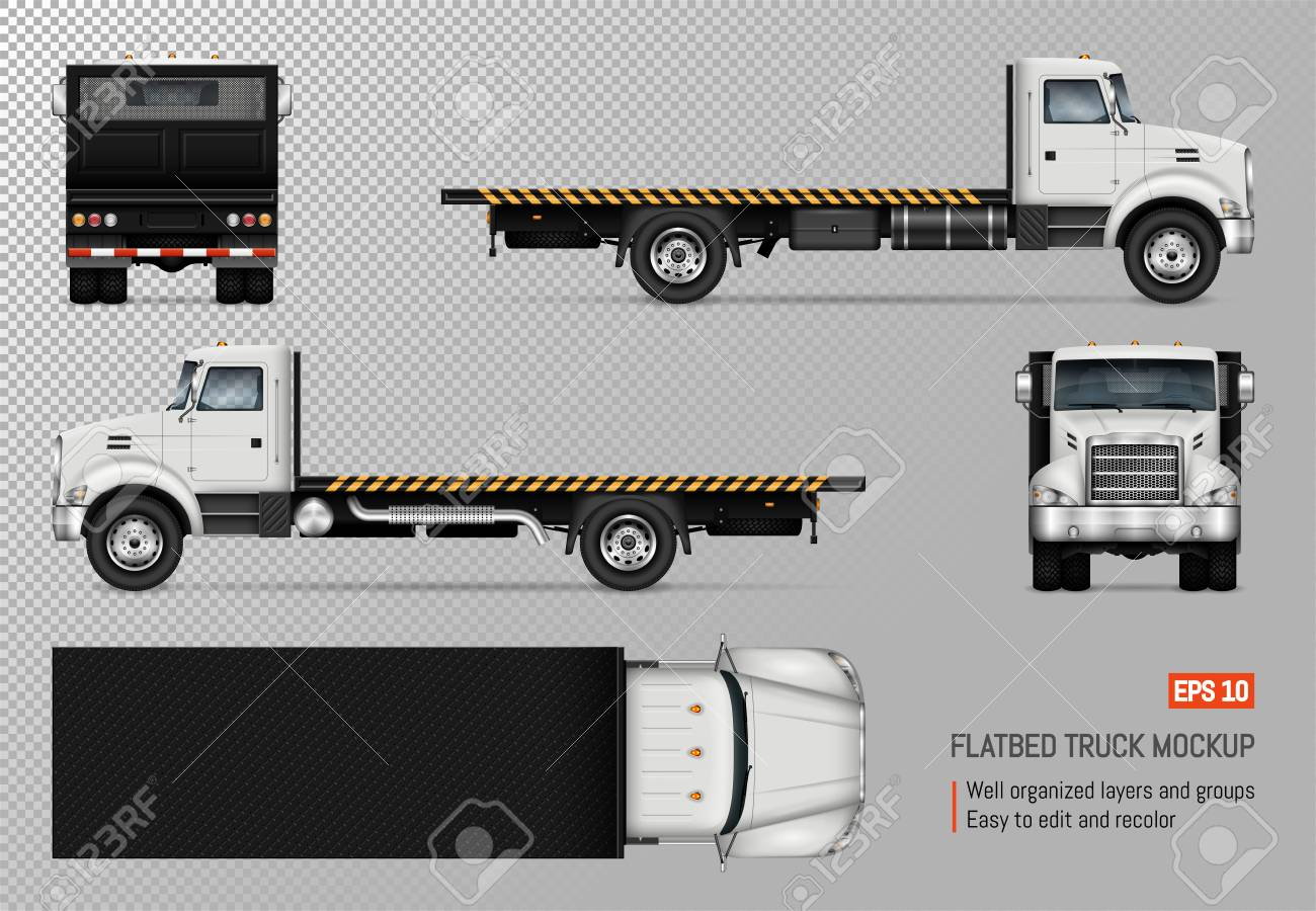 Flatbed Truck Vector Mockup Isolated Template Of The White Lorry Royalty Free Cliparts Vectors And Stock Illustration Image 102121108