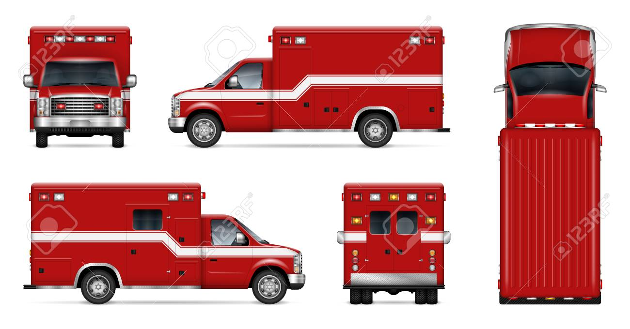 fire truck vector mockup on white background isolated template