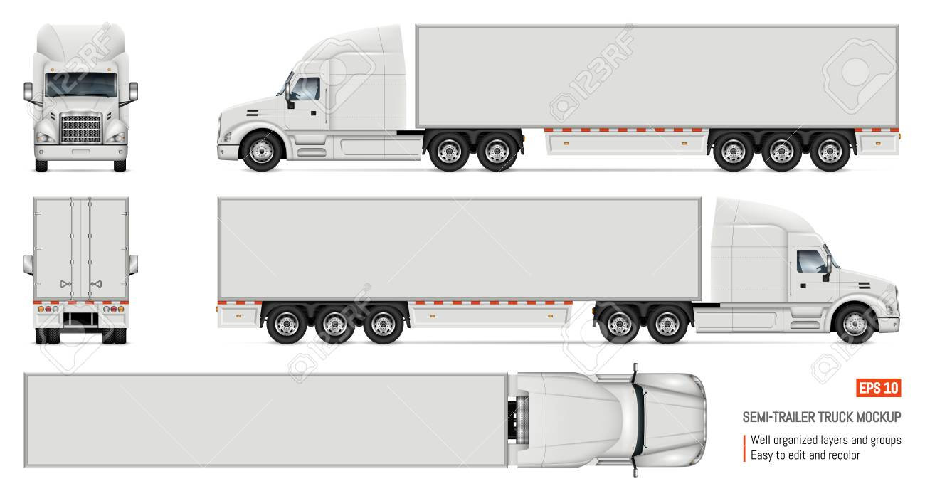 Semi trailer truck vector mockup for car branding and advertising. Isolated lorry Cargo vehicle set on white background. View from side, front, back, top - 108325917