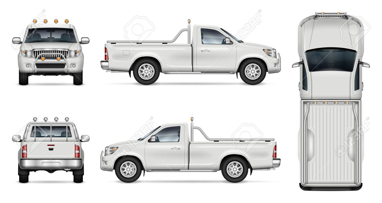 Pickup Truck Vector Mockup On White Background For Vehicle Branding Royalty Free Cliparts Vectors And Stock Illustration Image 112215995