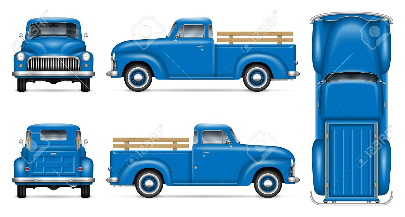 Classic Pickup Truck Vector Mockup On White Background Isolated Royalty Free Cliparts Vectors And Stock Illustration Image 113540192