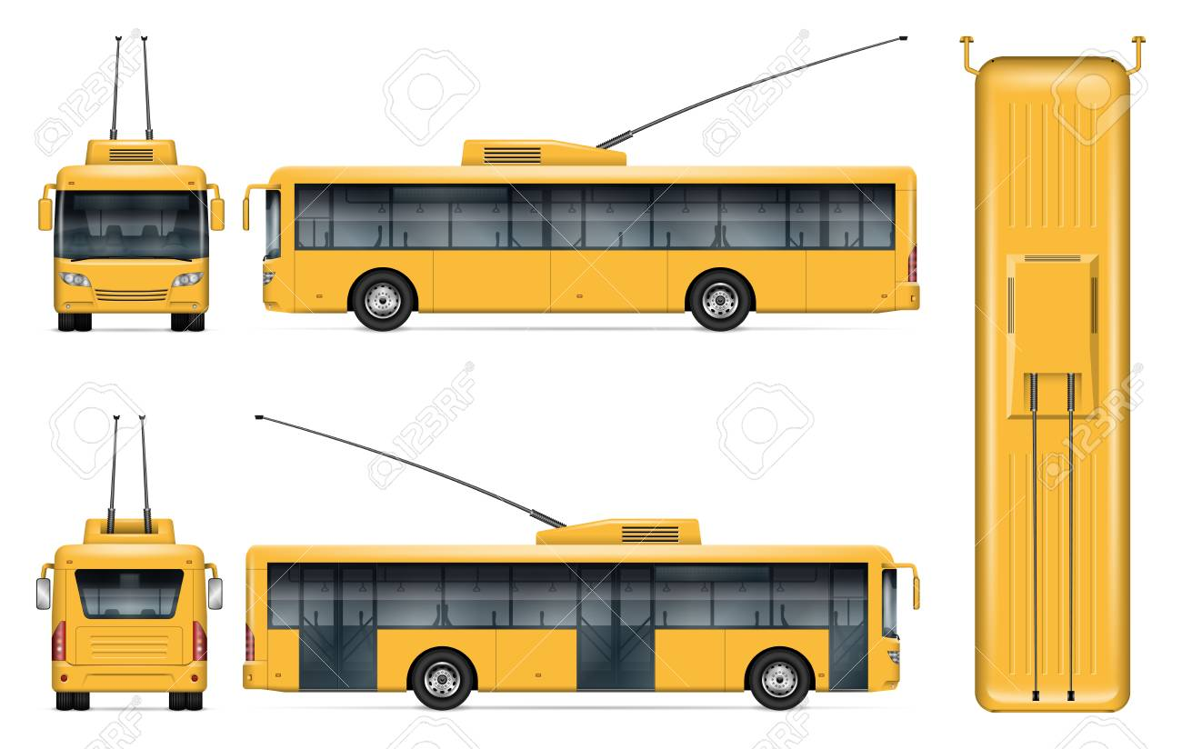 Yellow trolleybus vector mockup on white background for vehicle branding, corporate identity. View from side, front, back, top. All elements in the groups on separate layers for easy editing and recolor - 112216008