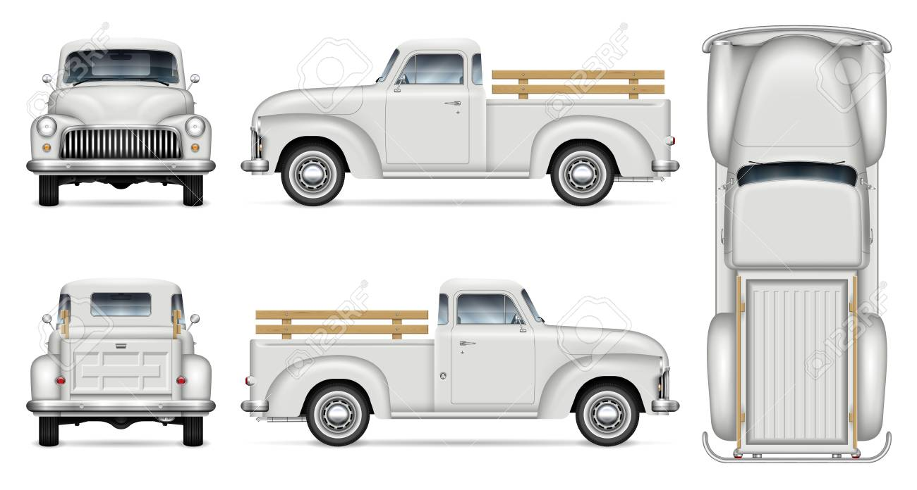 Old Truck Vector Mockup On White Background Isolated Vintage Royalty Free Cliparts Vectors And Stock Illustration Image 116522543