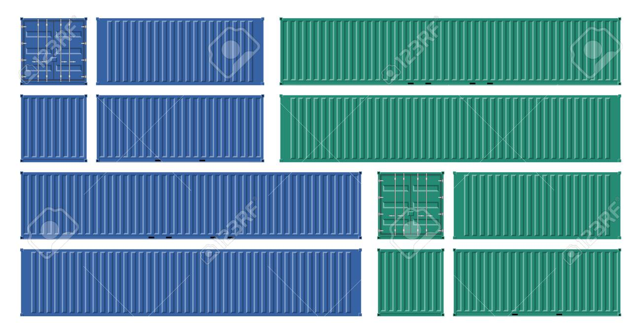 Cargo containers vector mockup on white background with side, front, back and top view. All elements in the groups on separate layers for easy editing and recolor - 127803291