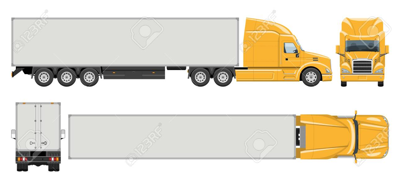 Semi trailer truck vector template with simple colors without gradients and effects. View from side, front, back, and top - 151393813