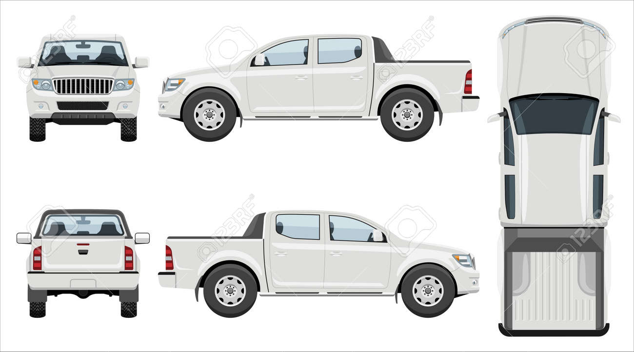 White pickup truck vector template with simple colors without gradients and effects. View from side, front, back, and top - 156468115