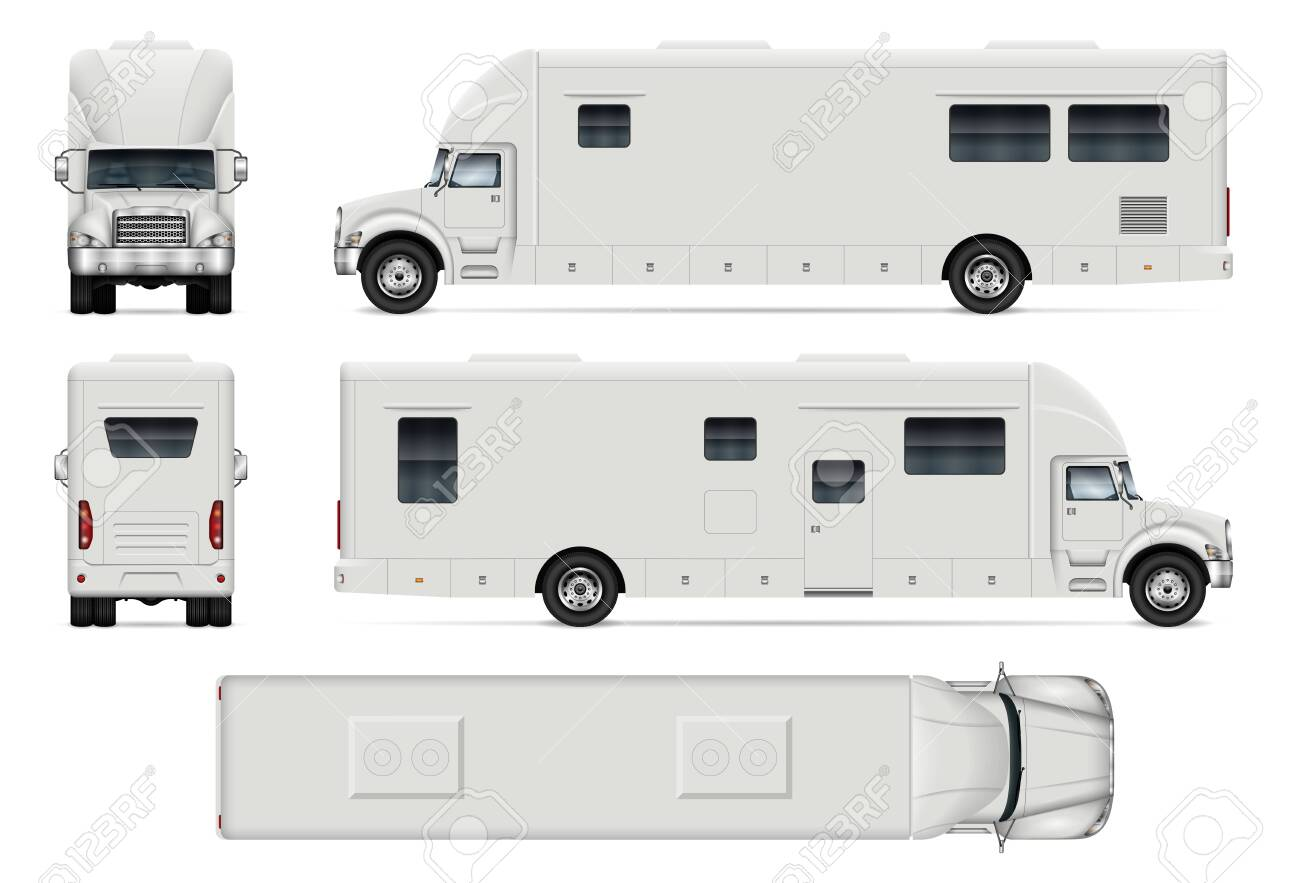 Recreational vehicle vector mockup on white for vehicle branding, corporate identity. View from side, front, back and top. All elements in the groups on separate layers for easy editing and recolor. - 158772484