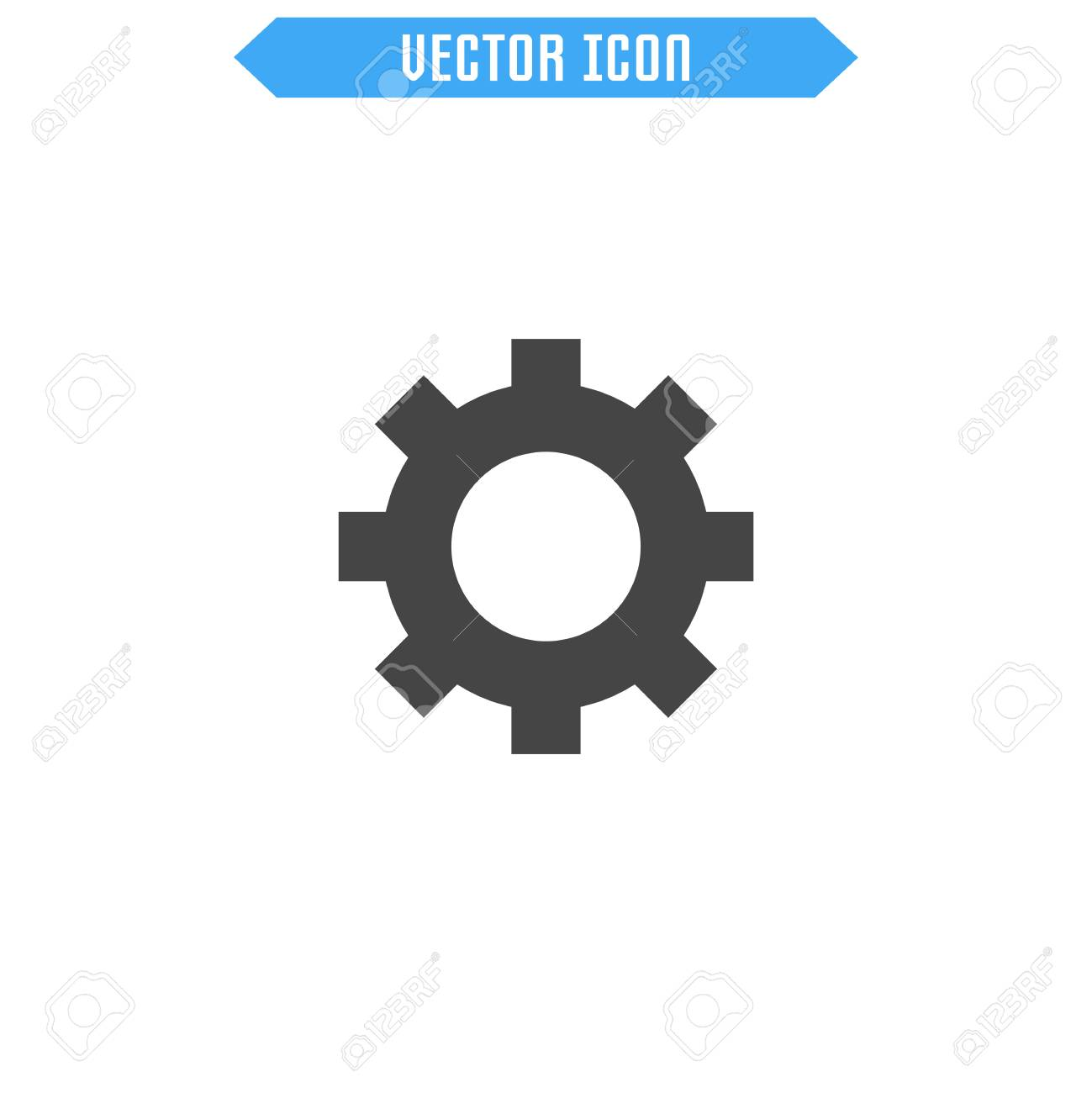 Settings icon flat  Cogwheel icon  Vector sign symbol