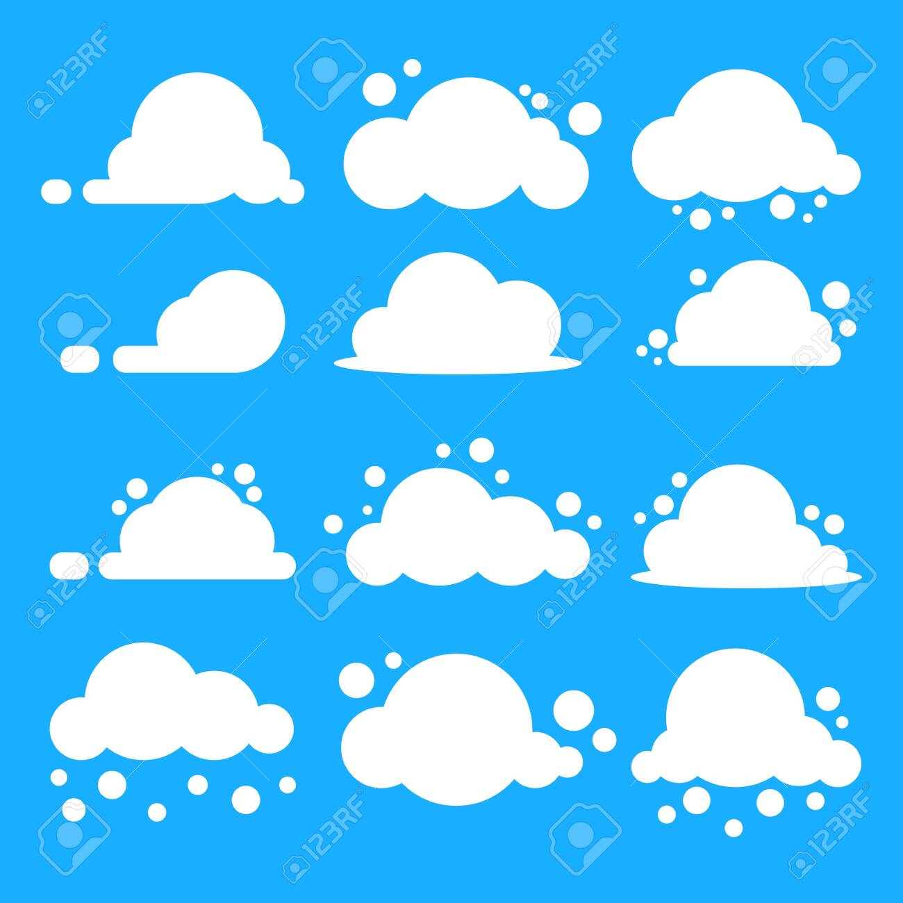 Flat cloud set. White clouds on blue background. EPS10 Vector. - 124128399