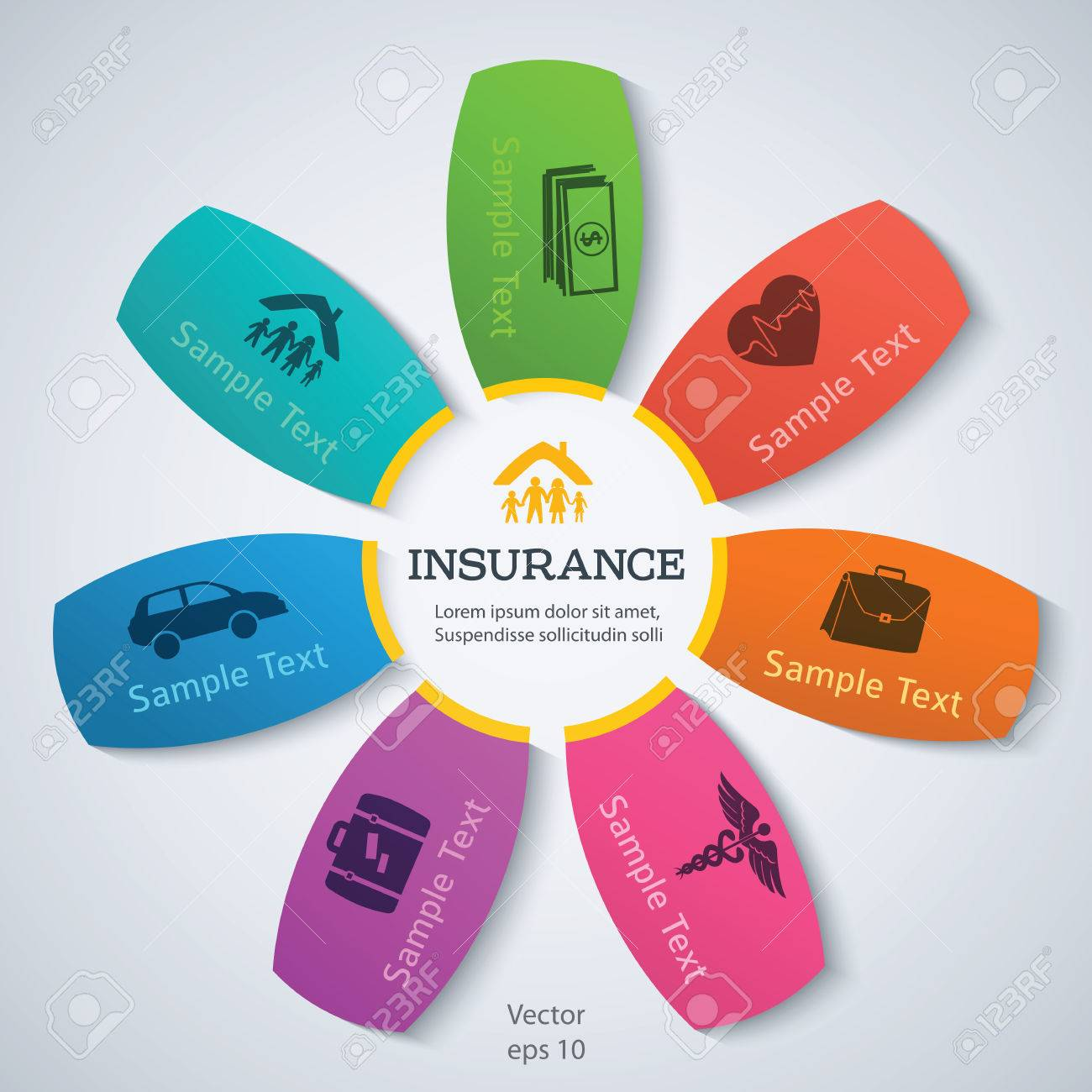 Business Service Steps Options Modern Design Style Infographic Of Different Kinds Insurance Vector Illustration Can Be Used