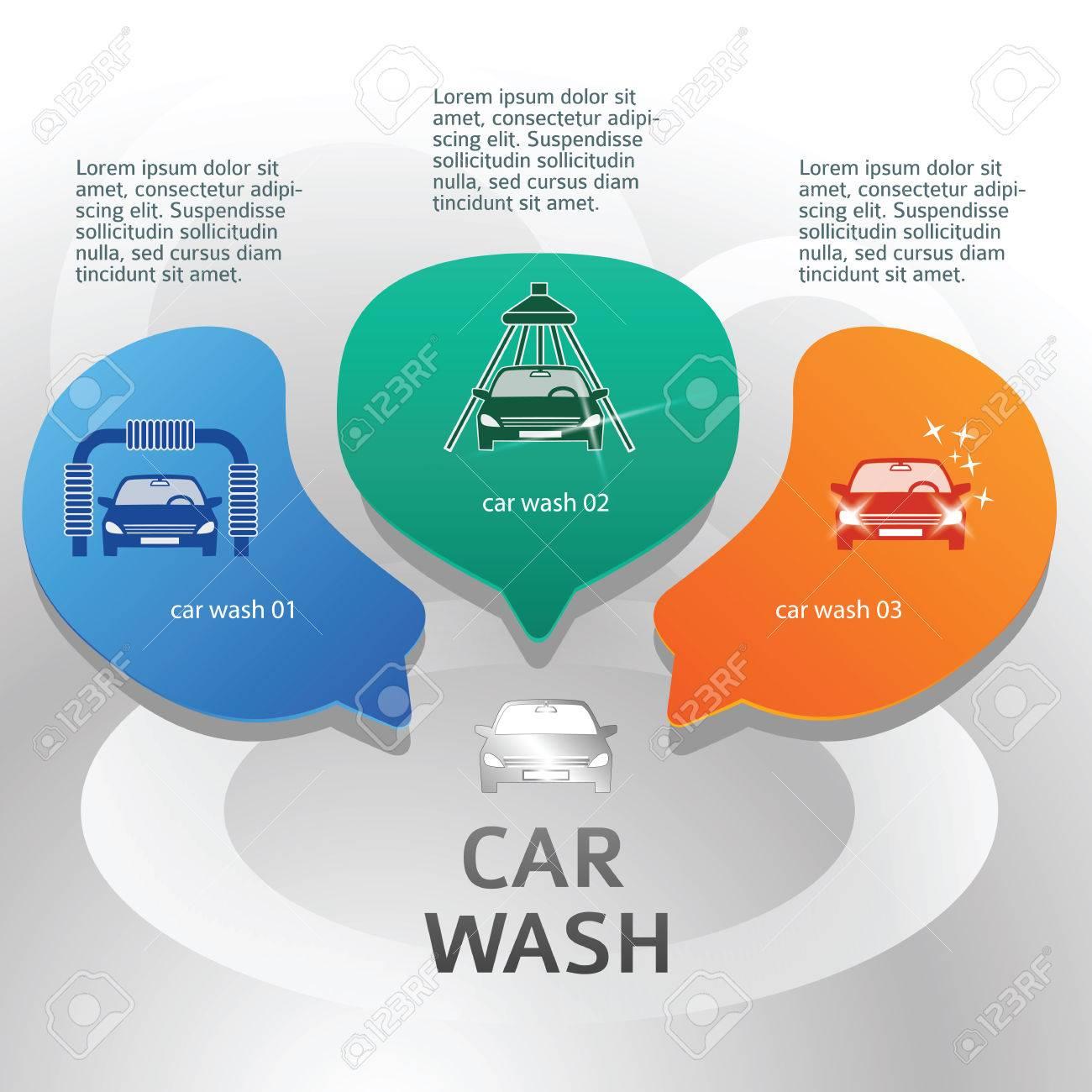 Design elements banner - Car Wash Design Elements Background With Icons On Web Banner Modern Business Presentation Template For
