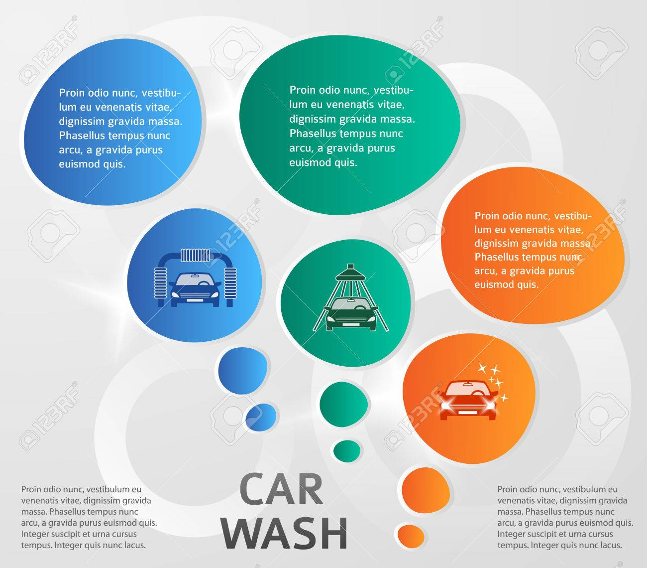 Auto Service & Car Wash Background With Icons Design Elements ...
