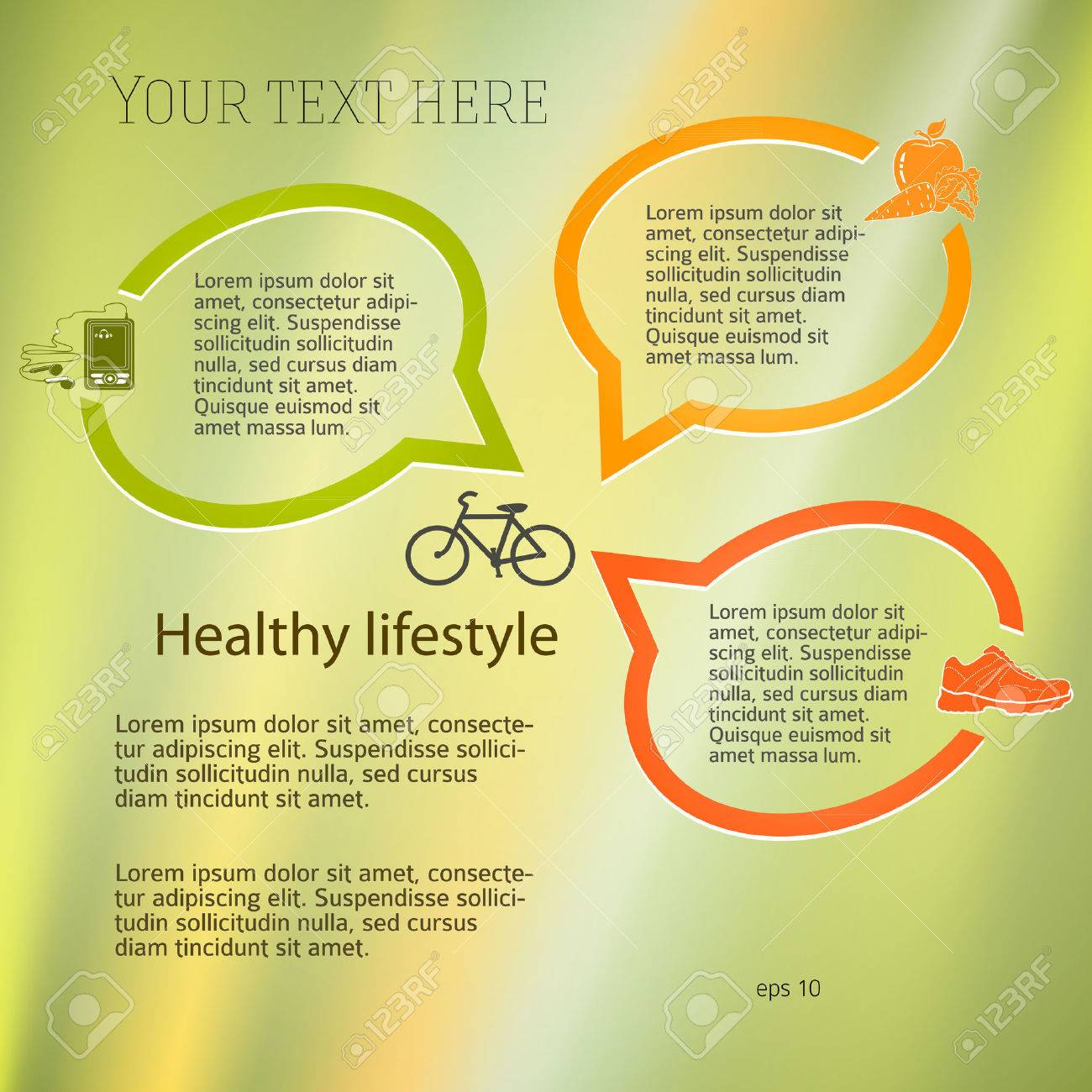 Healthy lifestyle & organic food icons  Modern infographic style