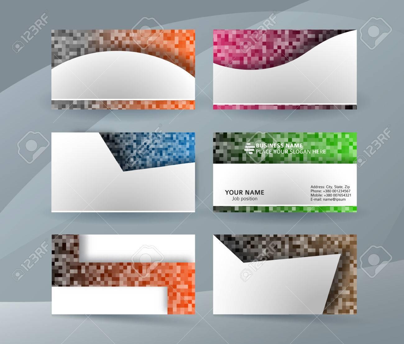 Modele De Carte Visite Professionnelle Et Design Ou Jeu Cartes Clair Minimal Fond Blanc Avec Des Noms Couleurs MOSAIC SQUARE
