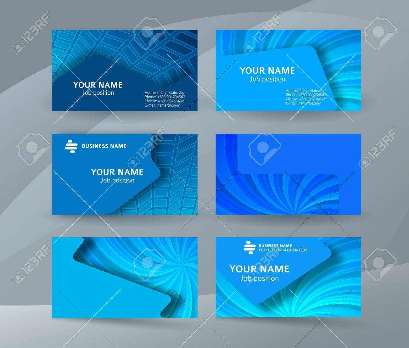 Abstract Professional And Designer Business Card One Sided Template Or Clear Minimal Visiting Set