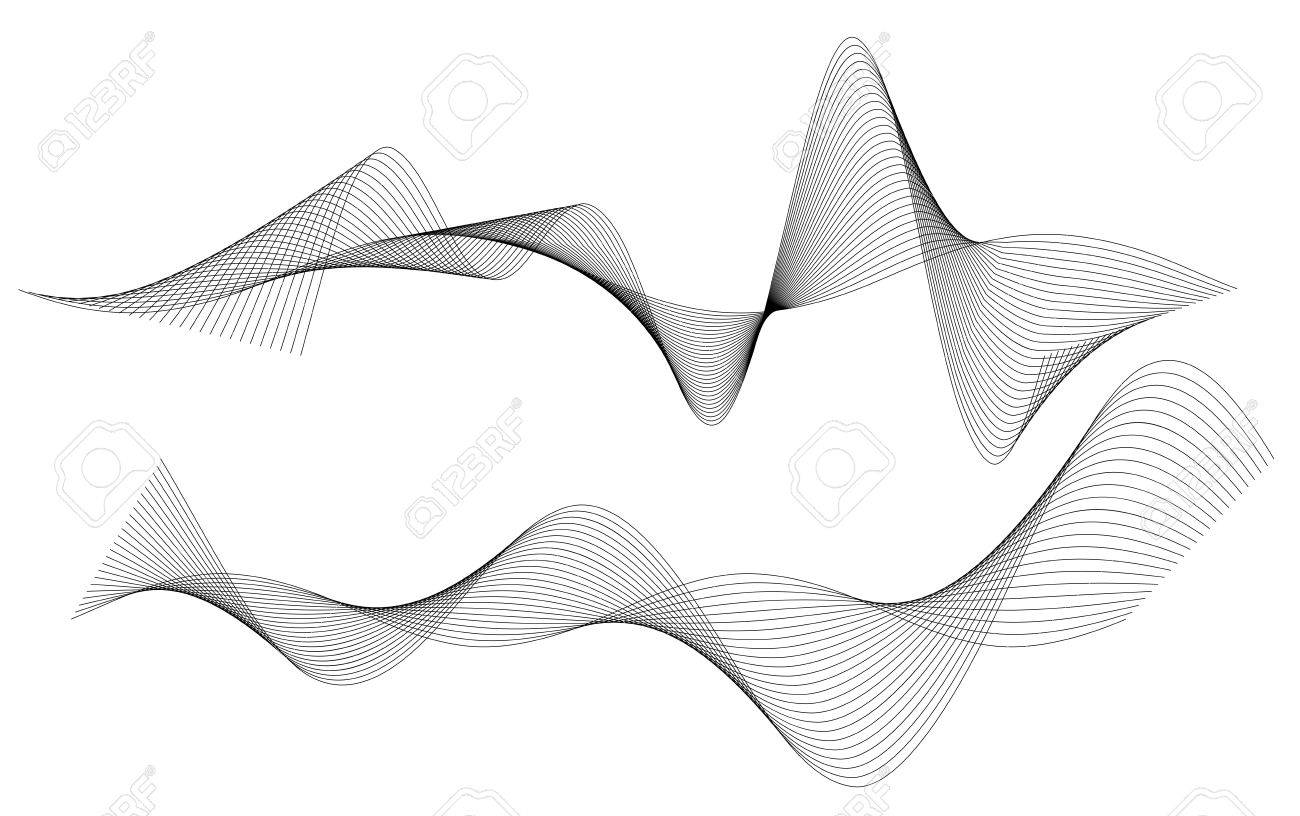 Line Art Vector Design : Design elements wave of many gray lines abstract wavy stripes
