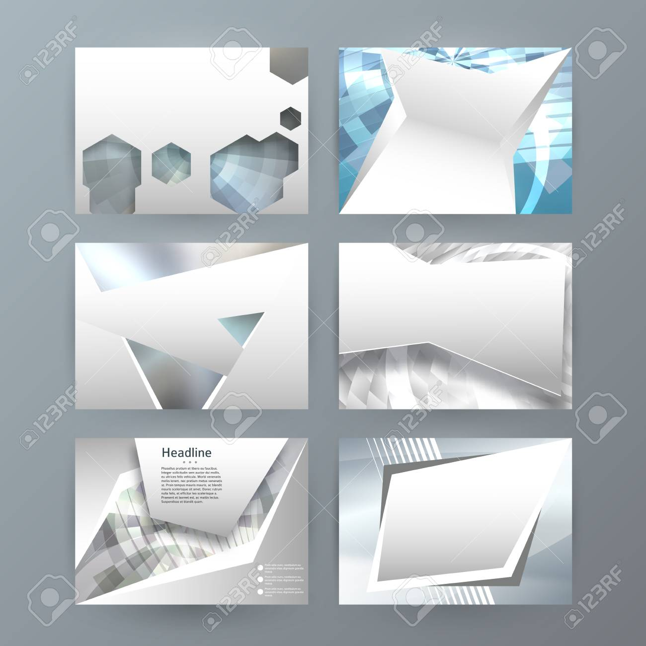 Business templates for multipurpose presentation slides. Easy editable vector layouts. Set of 6 horizontal Silver design brochure flyer, Annual report mockup graphic colors metalic grey, steel - 89764061