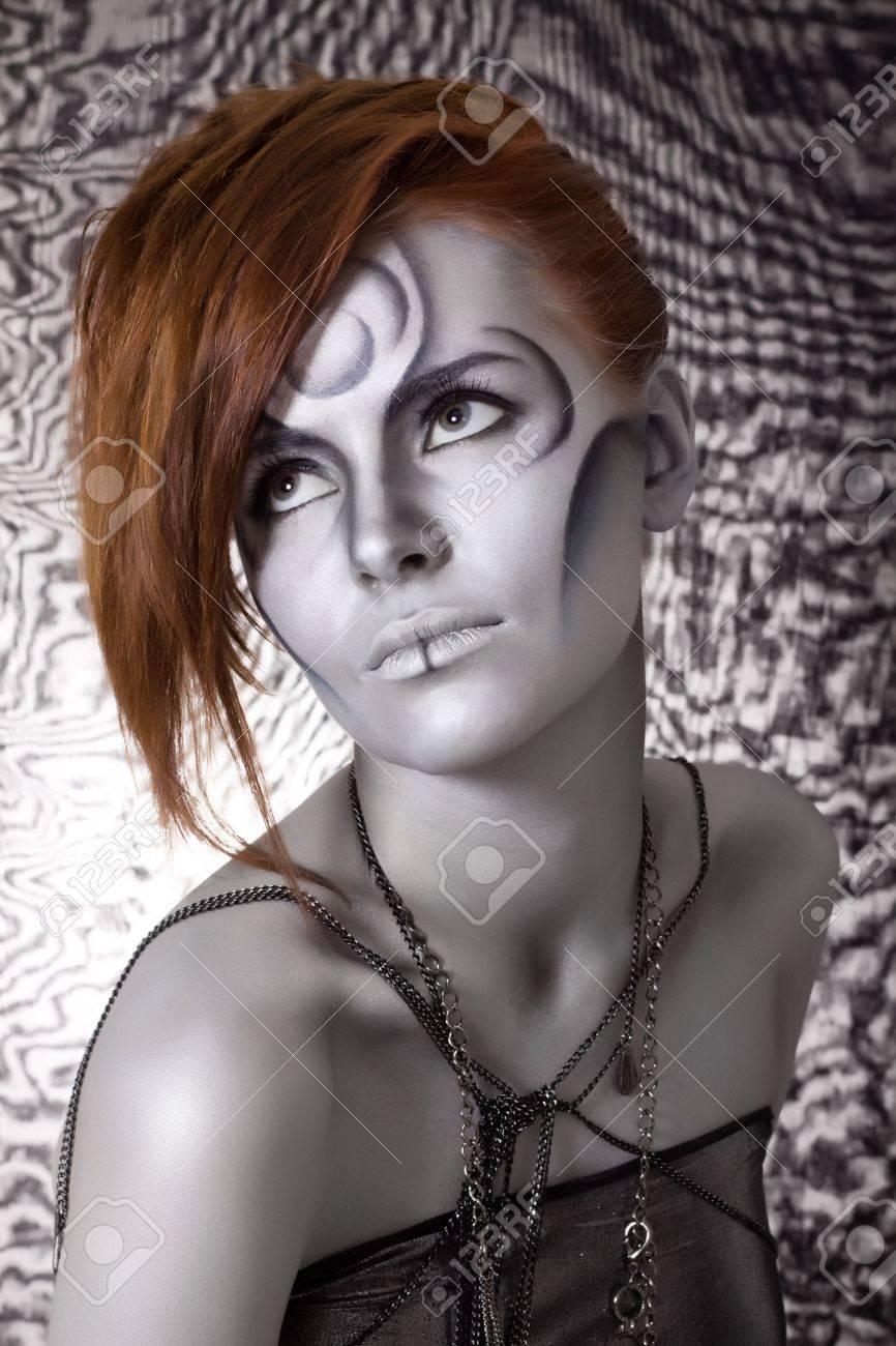 portrait body art red girl silver Stock Photo - 7045219