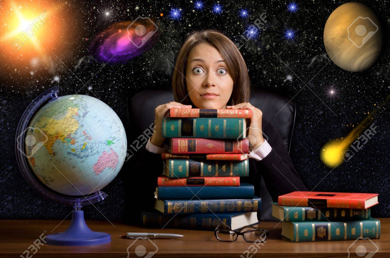 young woman with many books at the desk on space background Stock Photo - 7893977
