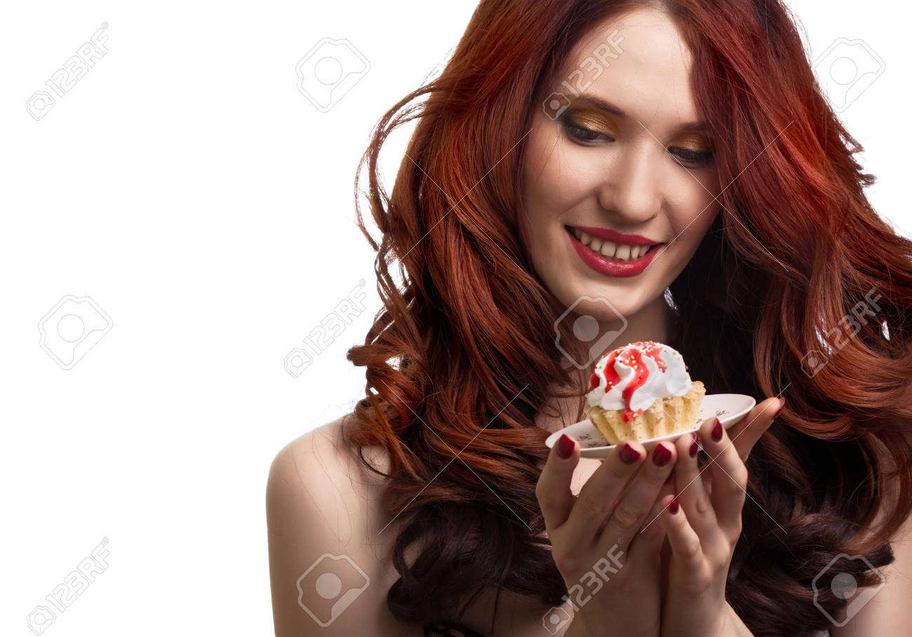beautiful happy woman with cake on the plate isolated on white background Stock Photo - 8715981