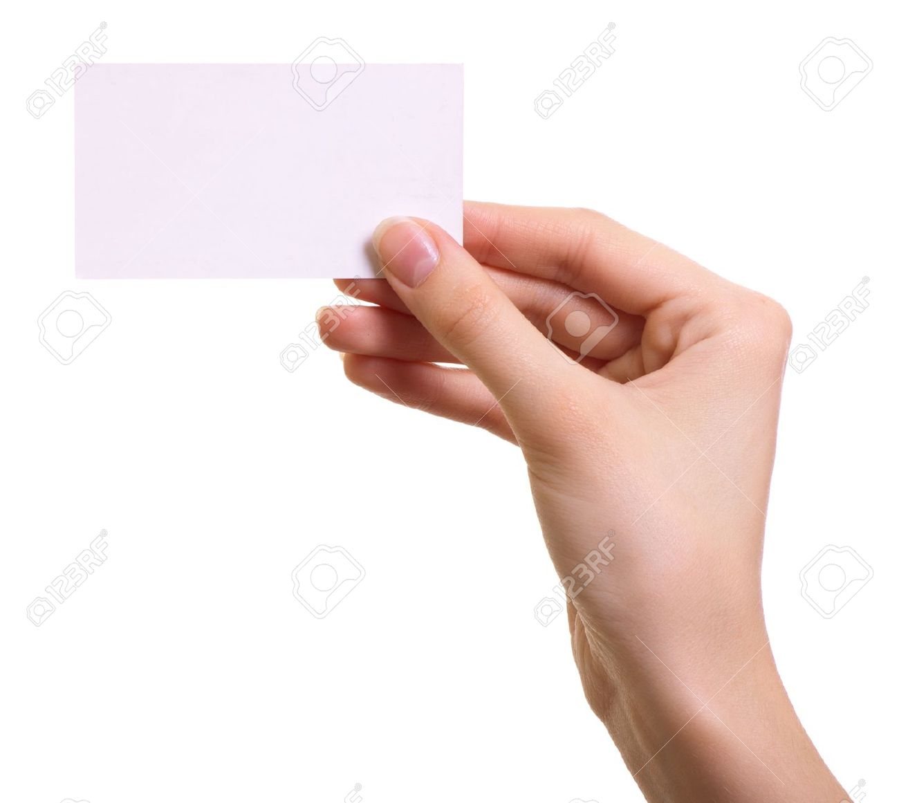 Woman Hand Holding Paper Paper Card in Woman Hand