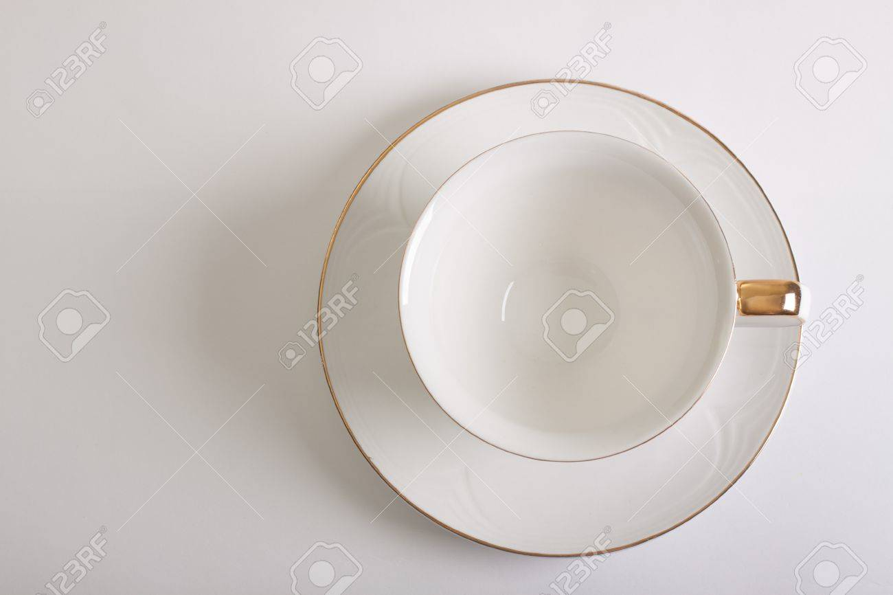White Empty Cup And Saucer Top View Stock Photo Picture And Royalty Free Image Image 9369532