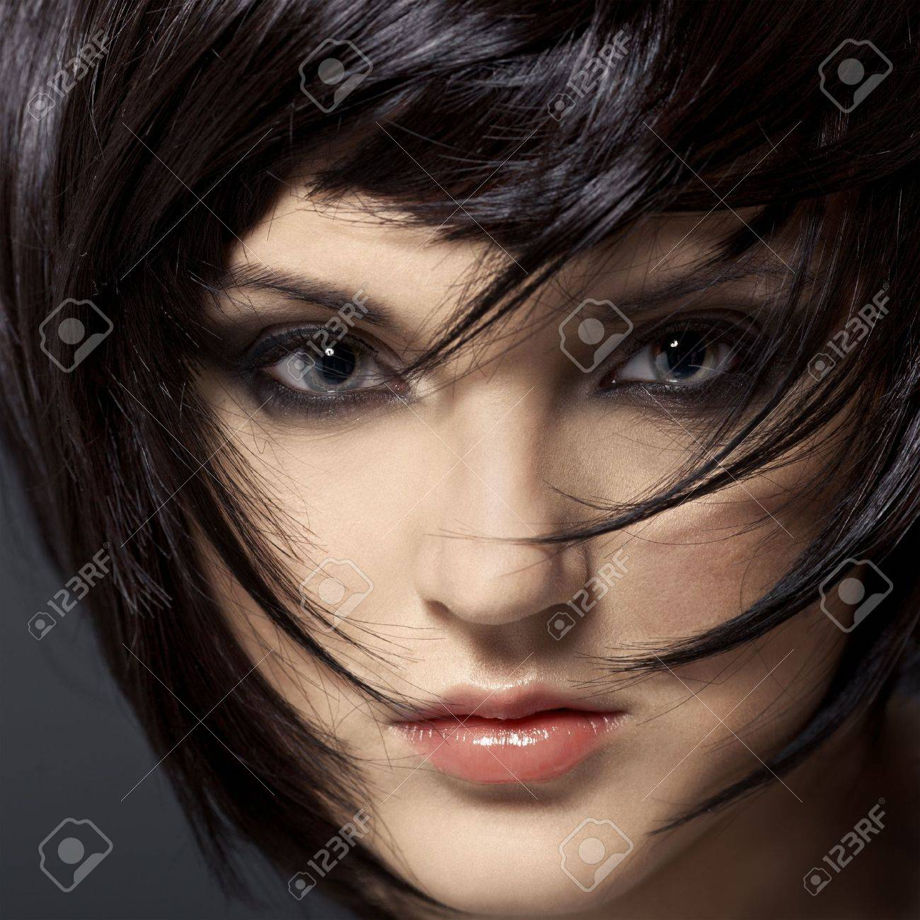 Strange Beautiful Brunette Girl Healthy Hair Hairstyle Stock Photo Short Hairstyles For Black Women Fulllsitofus