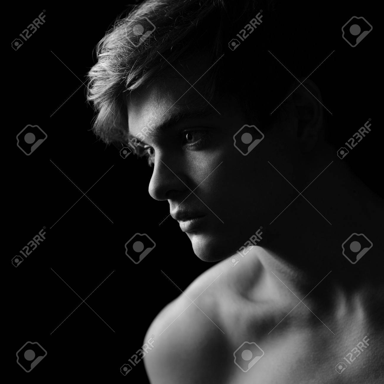 Beautiful Man Silhouette In Black White Stock Photo