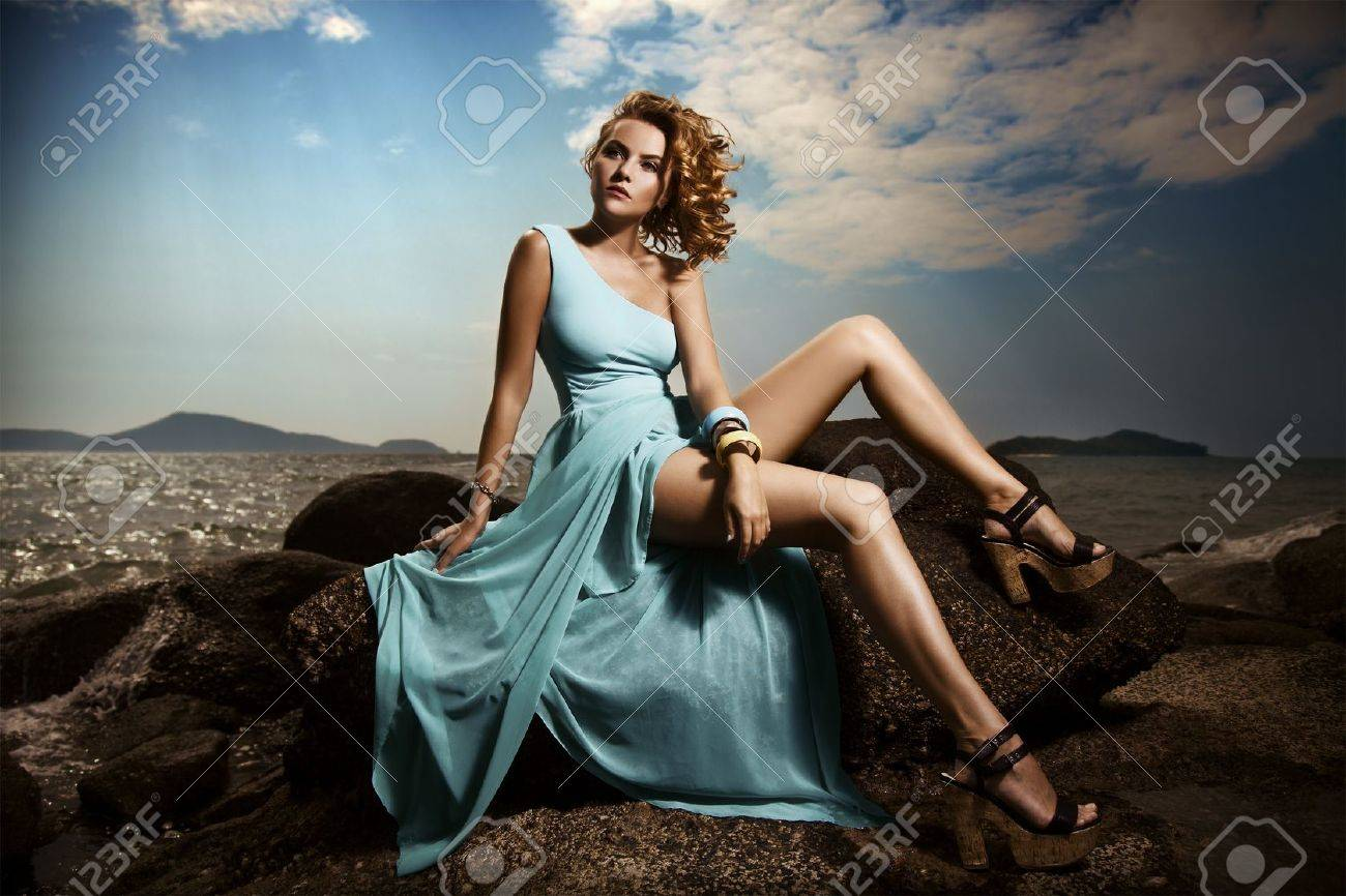 Portrait Of Fashion Woman In Blue Dress Outdoor Stock Photo