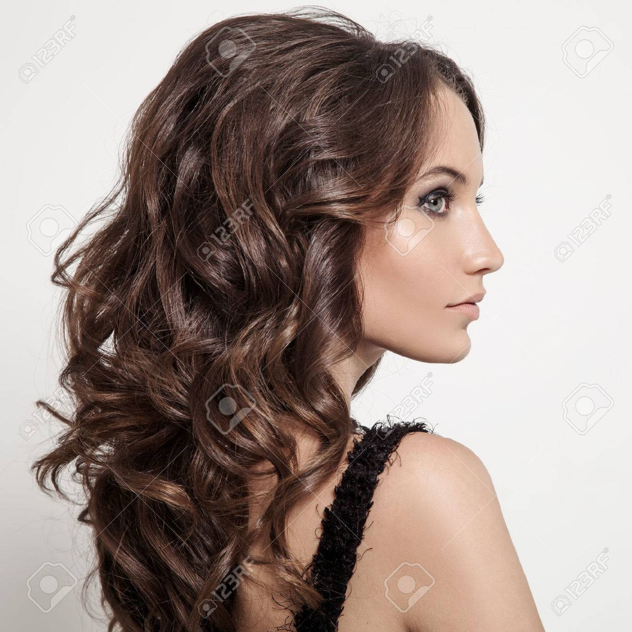 Beautiful Brunette Woman Curly Long Hair Stock Picture And
