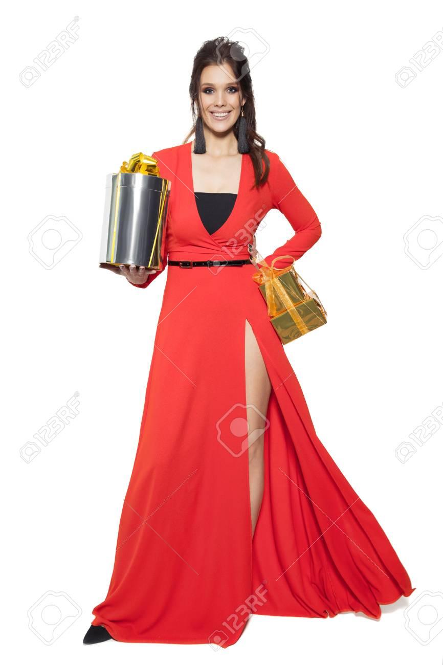 Frauen Geschenke Zu Weihnachten.Stock Photo