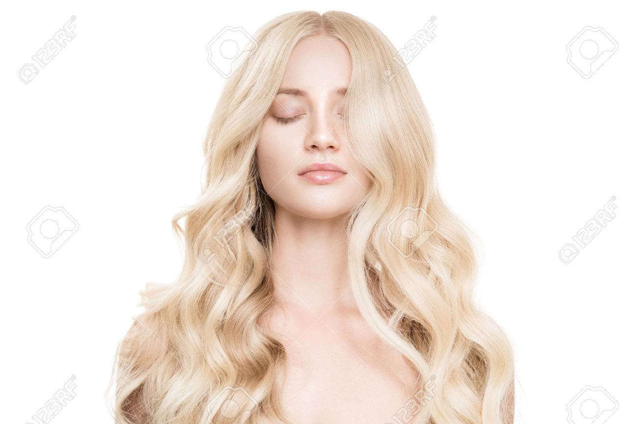 Portrait Of Beautiful Young Blond Woman With Long Wavy Hair. - 69890413