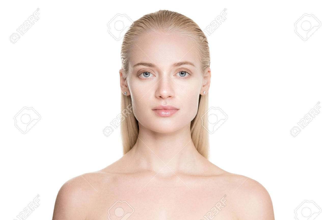 Portrait Of A Beautiful Young Blond Woman With Long Slicked Hair. Isolated On White Background - 69757294