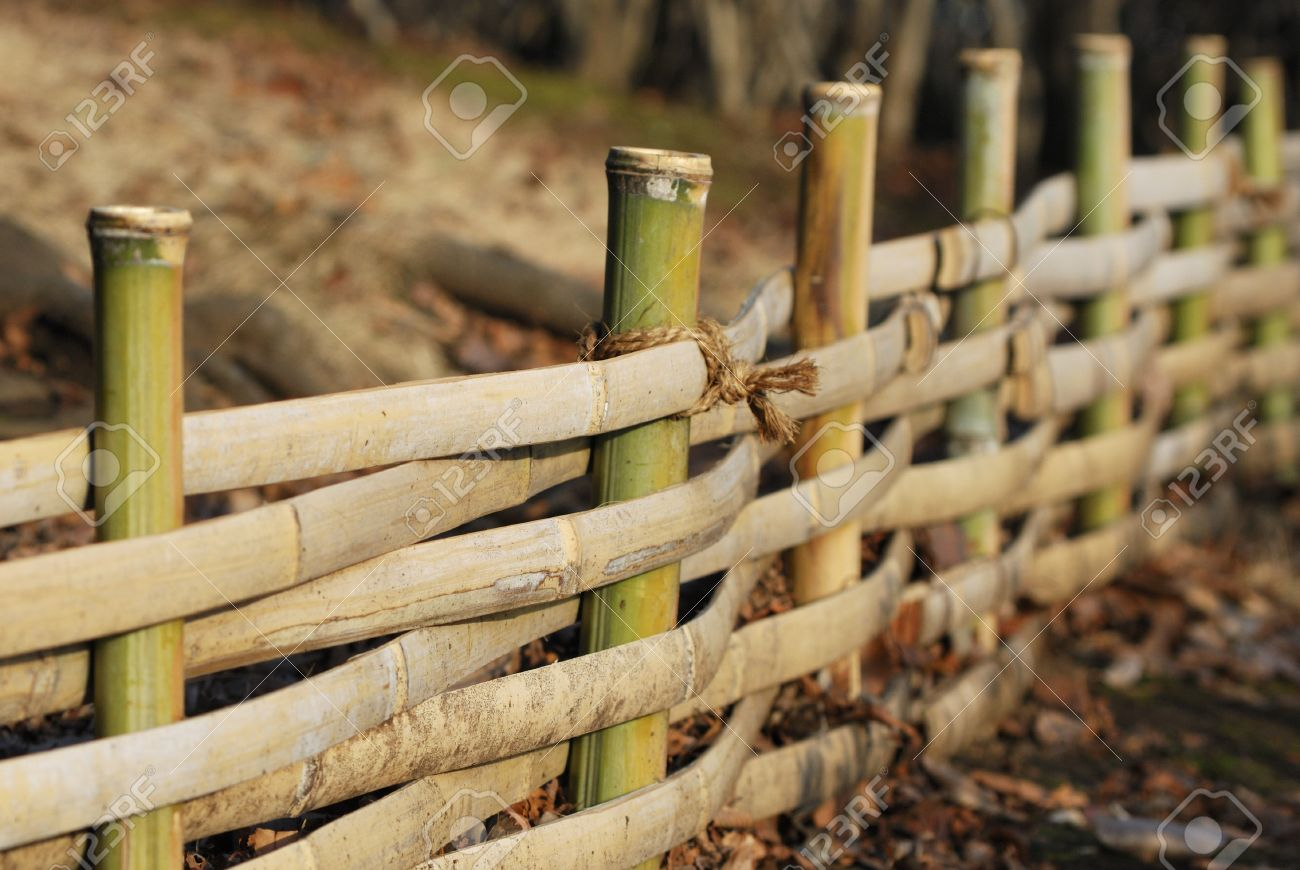 Traditional Japanese Bamboo Fence In Garden Selective Focus