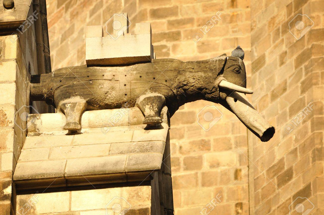 Decoration Figure Of Elephant On The Medieval Barcelona Cathedral ...