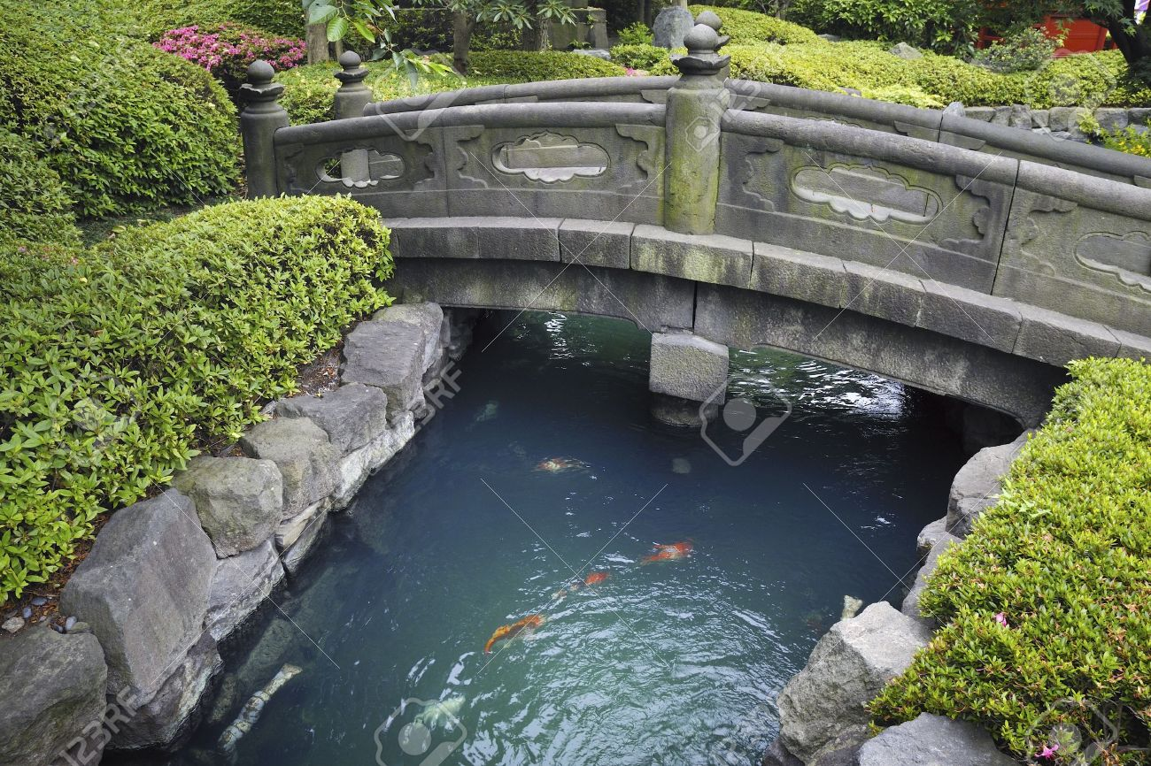 Scenic Stone Bridge Over Blue Water With Red Fishes In Japanese Stone Garden  Stock Photo