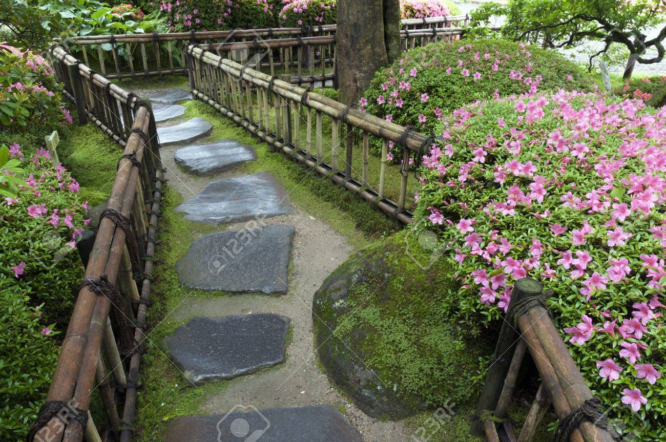 Stone Zen Garden Blossom azalea bushes and wet stone way in zen garden stock photo blossom azalea bushes and wet stone way in zen garden stock photo 14675848 workwithnaturefo