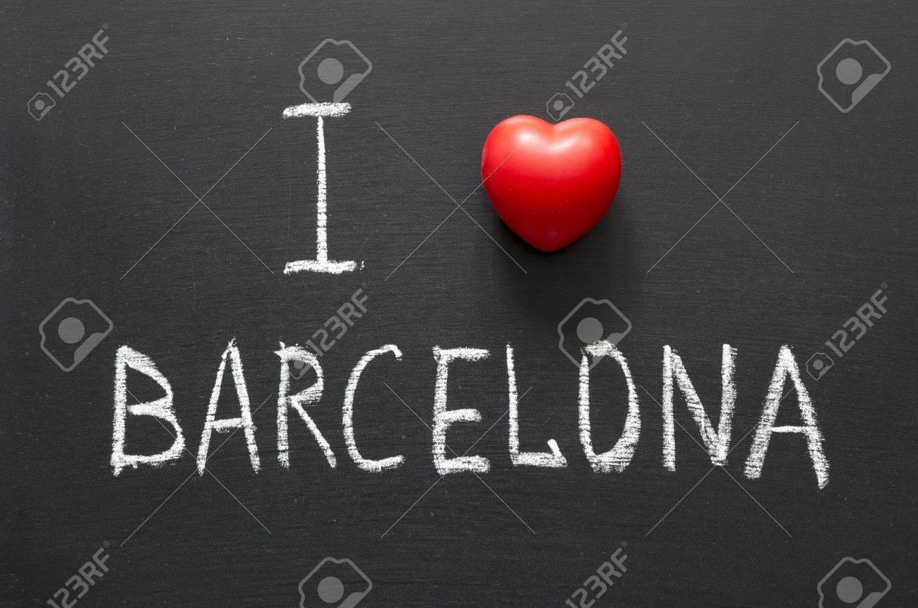 I love Barcelona handwritten on school blackboard Stock Photo - 14957174