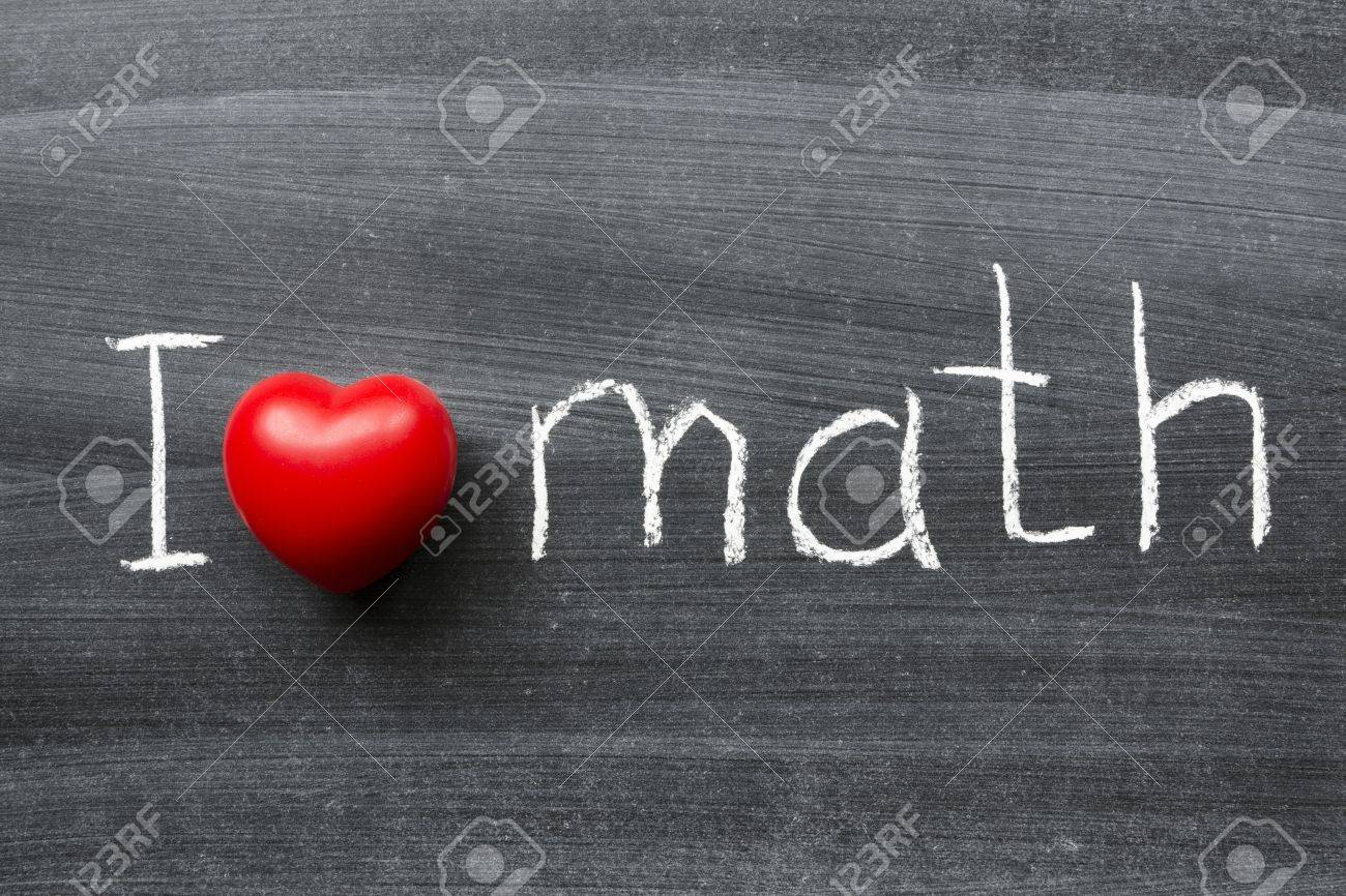 i love math phrase handwritten on the school blackboard stock photo
