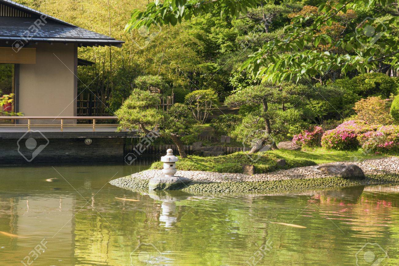Japanese zen gardens with pond - Scenic Japanese Zen Garden With Pond And Small Stone Lantern By Summer Stock Photo 20162149