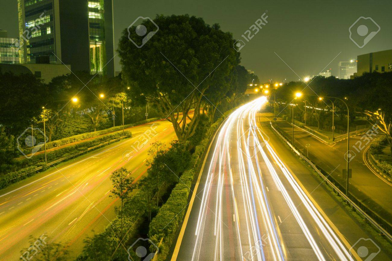 Night City Roads With Light Traces In Singapore Stock Photo Picture And Royalty Free Image Image 21613416