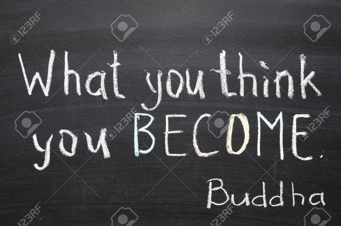 Famous Buddha Quote What You Think You Become Handwritten On Stock