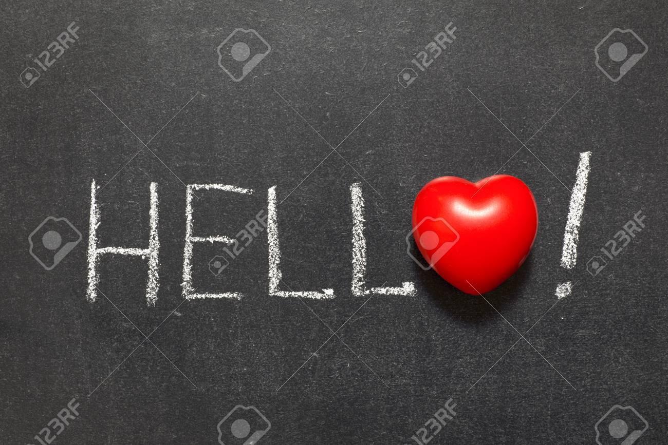 Hello exclamation handwritten on chalkboard with heart symbol hello exclamation handwritten on chalkboard with heart symbol instead of o stock photo 28449067 biocorpaavc