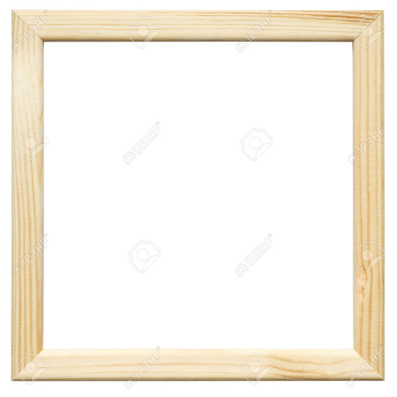 Light Square Wooden Picture Frame On The White Background Stock ...