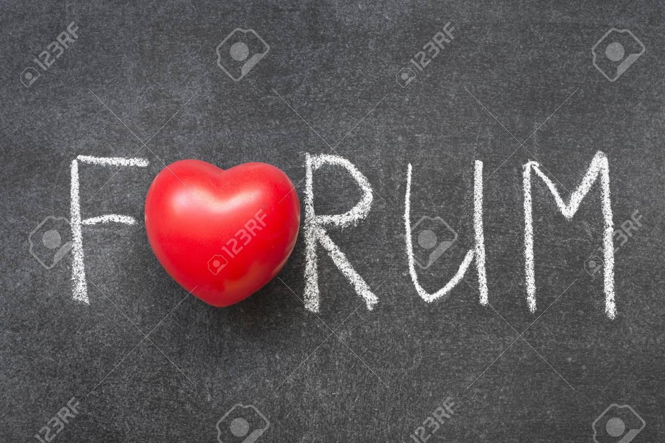 Forum Word Handwritten On Chalkboard With Heart Symbol Instead