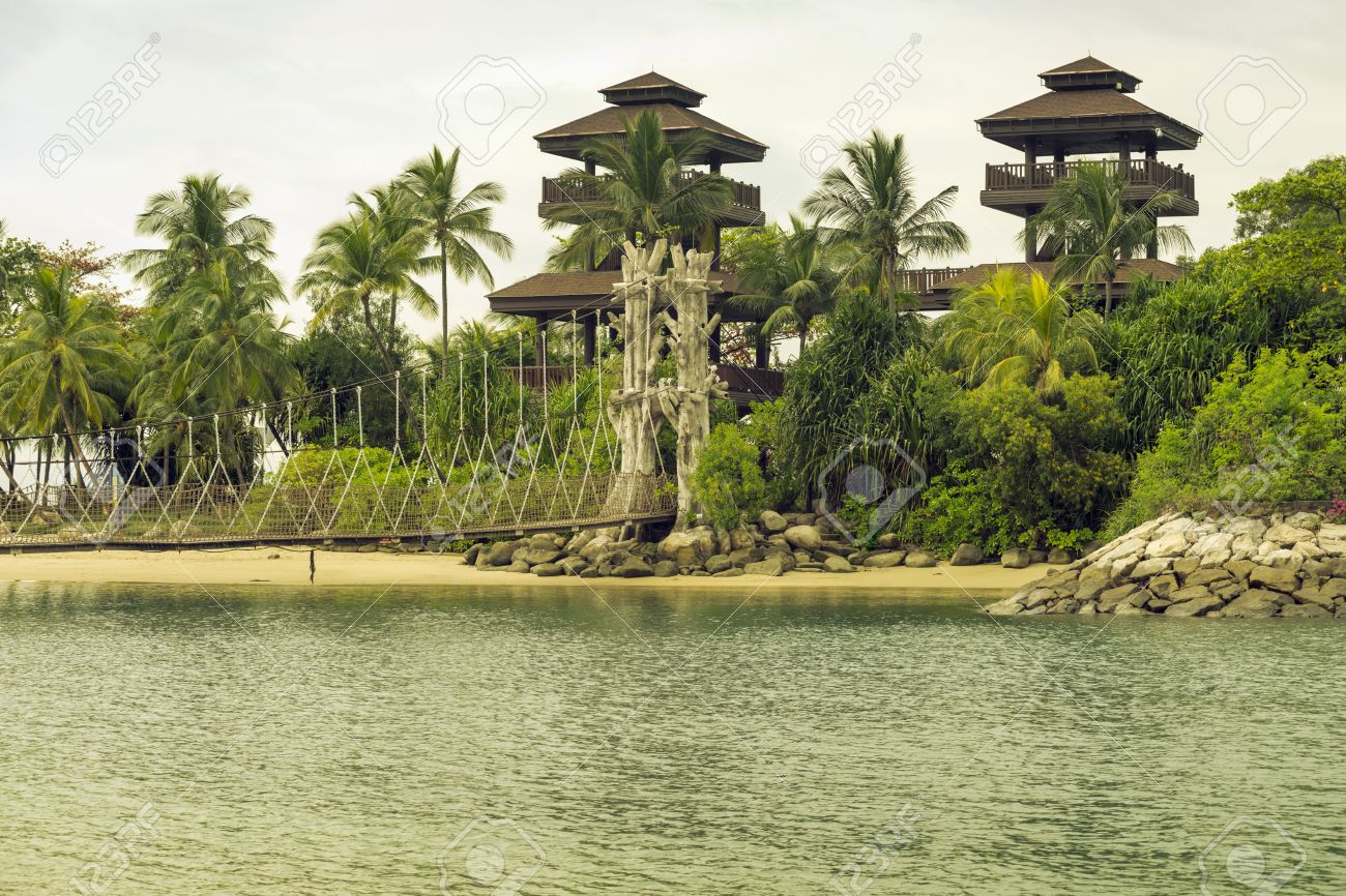Palawan Beach With Observation Tower On Sentosa Island In Singapore