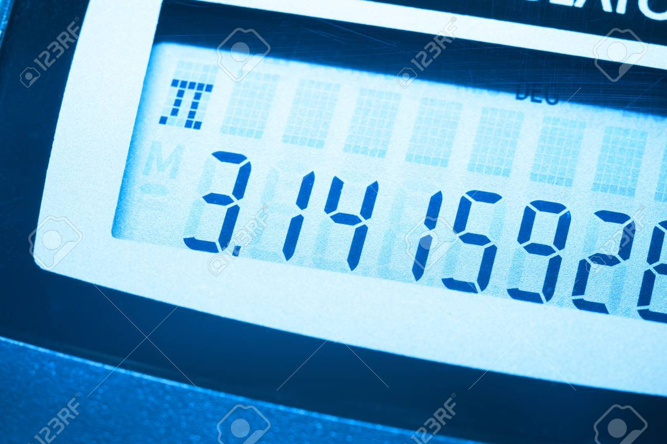 pi number on the screen of digital calculator stock photo picture