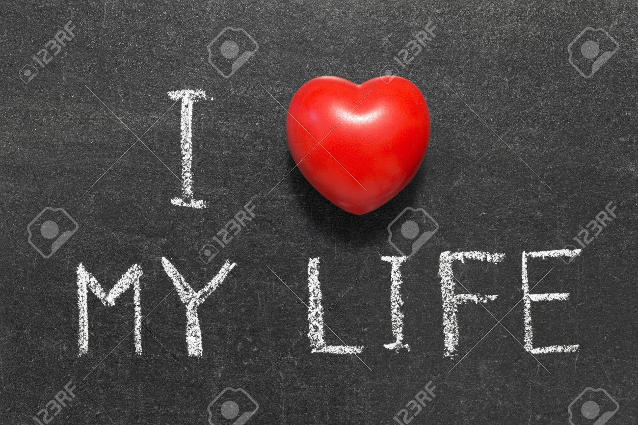 I love my life phrase handwritten on blackboard with heart symbol i love my life phrase handwritten on blackboard with heart symbol instead of o stock photo biocorpaavc