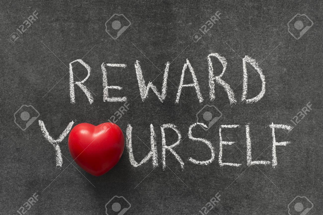 Reward yourself phrase handwritten on blackboard with heart symbol reward yourself phrase handwritten on blackboard with heart symbol instead of o stock photo 40001763 biocorpaavc